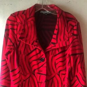 ❤️Unique red & black med. Length jacket blazer!🖤